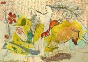 Emily Cline Art's work in progress from Orly Avineri's art journaling workshop